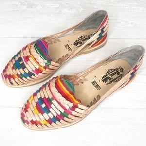 Vintage | Huaraches Sandals w/ Rainbow Pattern